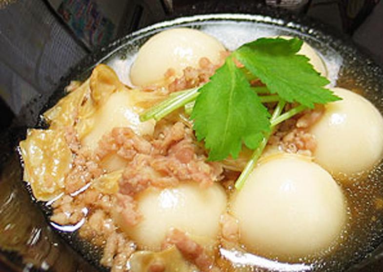 豆腐白玉と湯葉の鶏そぼろあん