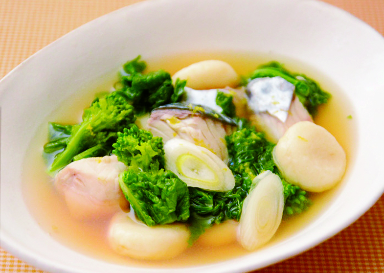 サワラと菜の花の和風スープ煮